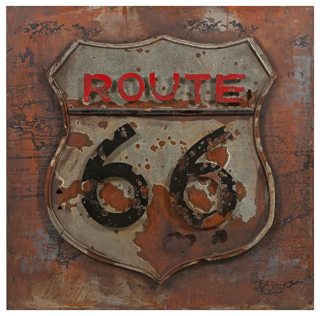 route 66 dimensional metal art industrial wall With kitchen cabinets lowes with route 66 metal wall art
