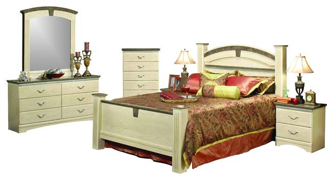 Sandberg Furniture La Jolla Bedroom Set White Wash California King Traditional Bedroom