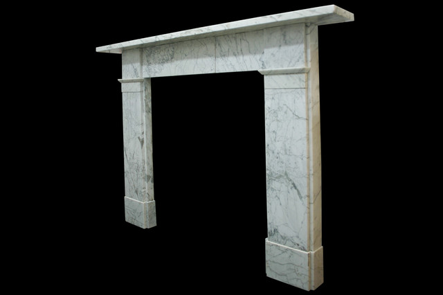 Early Victorian Carrara Marble Fireplace Surround Side