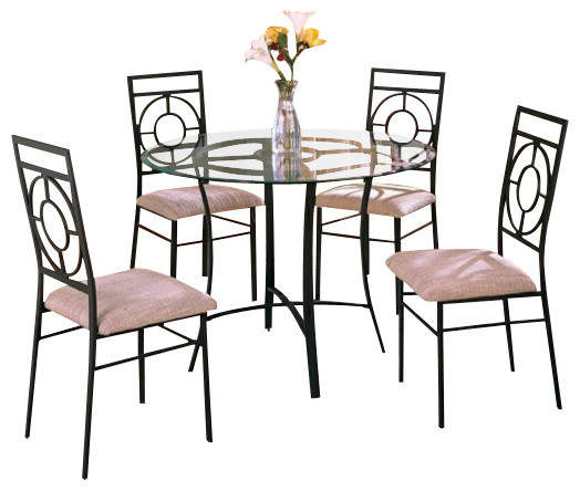5-Piece Metal and Glass Dining Table Set with Fabric ...