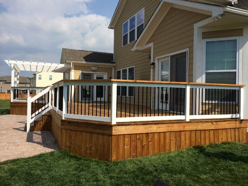 Beautifully Stained Two Tone Deck White Pergola Railing