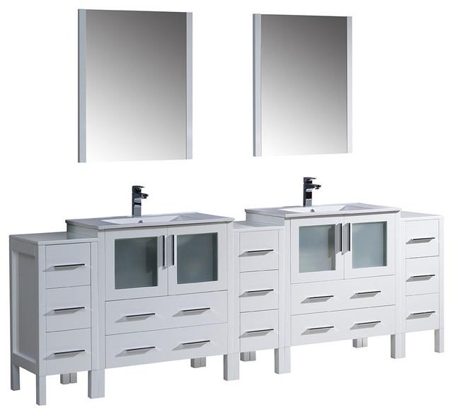White Double Sink Bathroom Vanity Cabinet