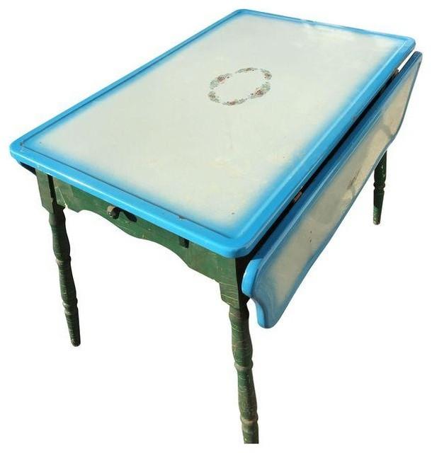 Vintage blue metal top drop leaf dining table Dining Tables : dining tables from houzz.com size 610 x 640 jpeg 46kB