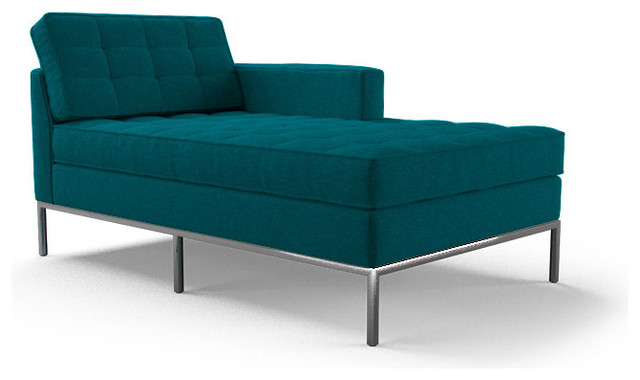 Franklin single arm chaise lucky turquoise blue for Blue chaise lounge indoor