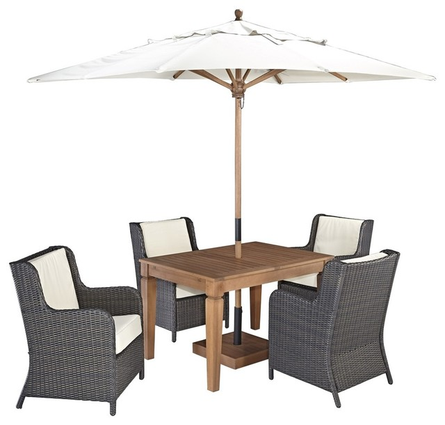 Bali Hai 5 Piece Outdoor Dining Set With Umbrella Transitional Outdoor Di