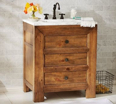 Stella single sink console weathered pine finish traditional bathroom vanities and sink for Single sink consoles bathroom