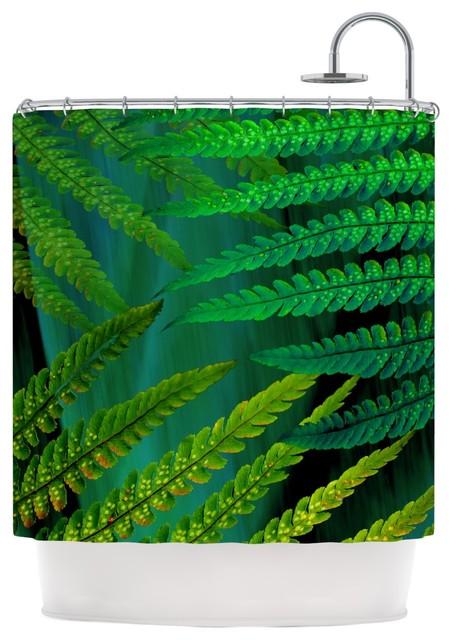 Alison coxon forest fern green plant shower curtain - Forest green shower curtain ...