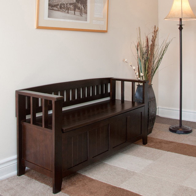 Overstock Foyer Bench : Normandy tobacco brown entryway storage bench