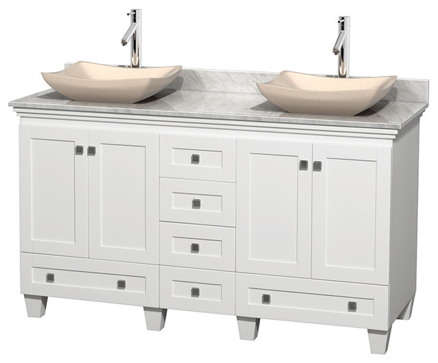 Acclaim 60 white vanity carrera marble top avalon sinks for Marble top console sink