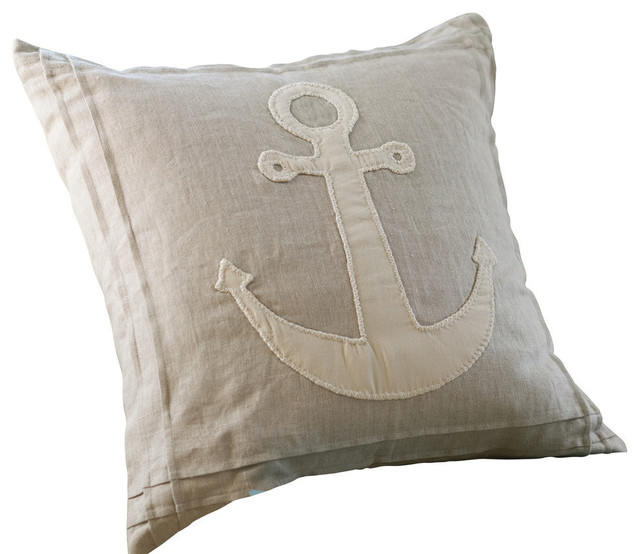 Natural Anchor Pillow - Traditional - Decorative Pillows - by Taylor Linens