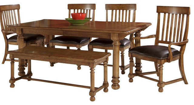 American drew americana home 7 piece dining room set in warm oak traditional dining sets for American drew oak bedroom furniture