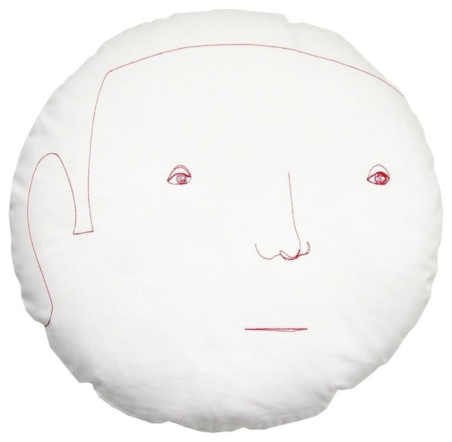 Round Face Male Pillow - White - Eclectic - Decorative Pillows - by Design Public