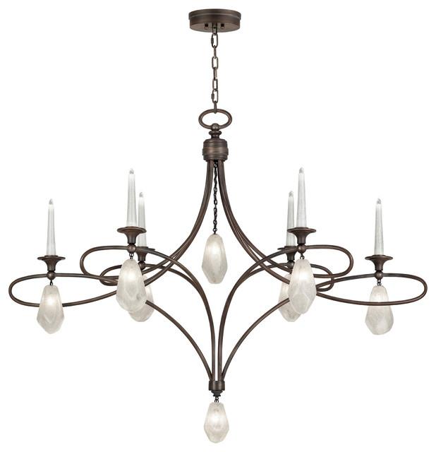 Fine Art Lamps Quartz And Iron 6 Light Chandelier
