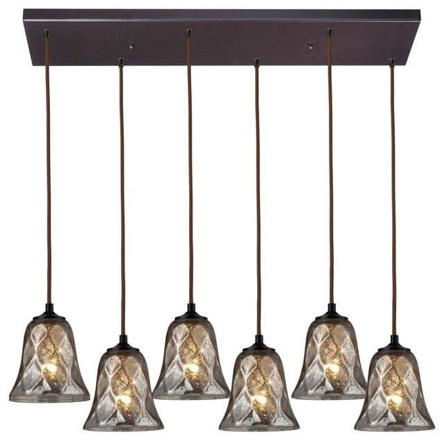 Six Light Oiled Bronze Multi Light Pendant