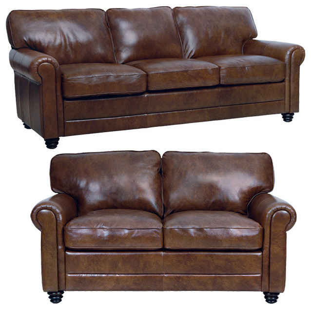 Traditional Sofas Living Room Furniture: Genuine Italian Leather Sofa And Loveseat In Havana Brown