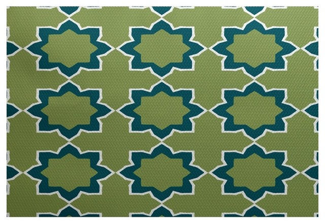 Bohemian 2 geometric print indoor and outdoor rug teal for Geometric print area rugs