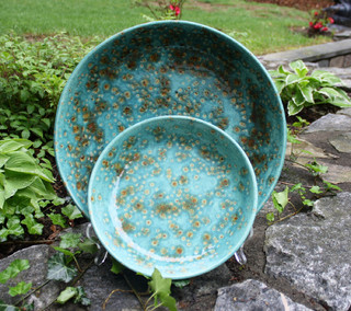 Serving Bowl 2 Piece Set Earth Tones of Teal Blue Brown - Contemporary - by Luulla