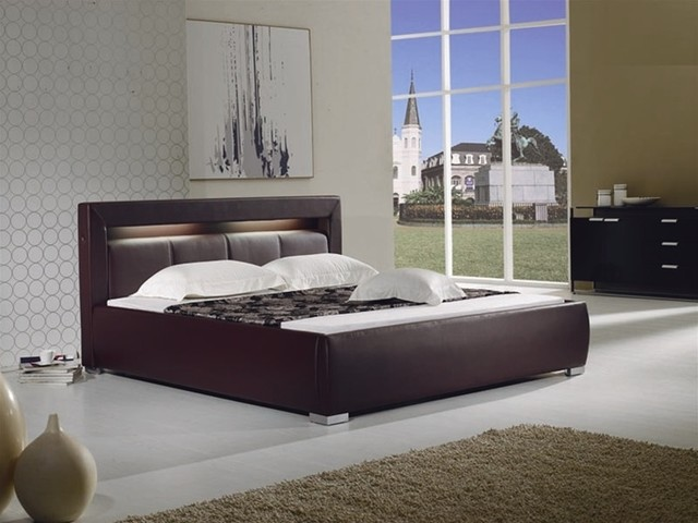 modern brown leather bed with built in lighting. Black Bedroom Furniture Sets. Home Design Ideas