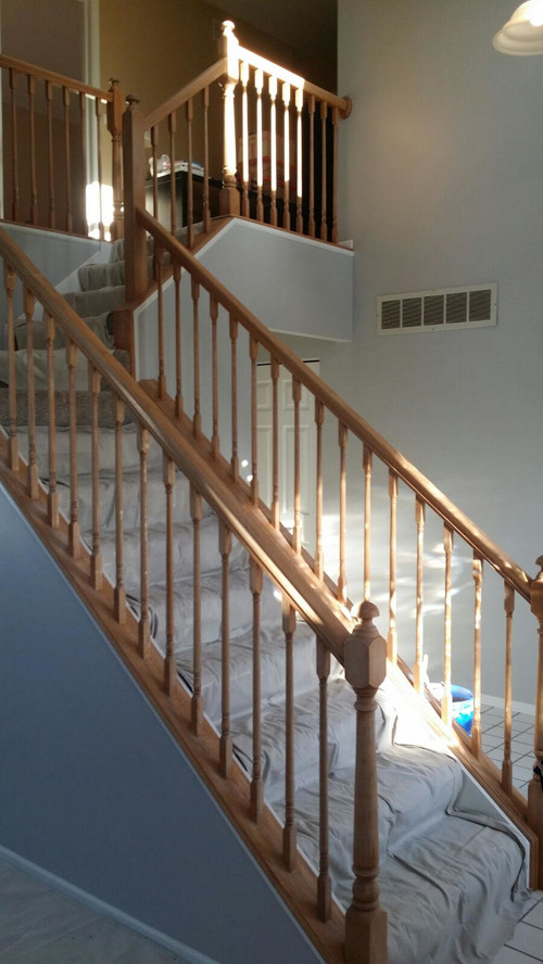 Lighting Basement Washroom Stairs: Staircase Railing Paint Vs Stain