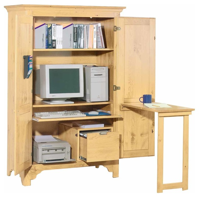Armoires UnFinished Pine Computer Armoire 68 H x 43 1/2W - Farmhouse - Desks And Hutches - by ...