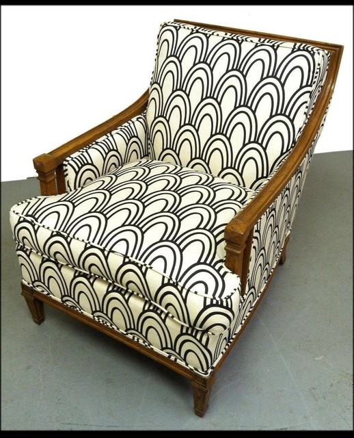 Vintage Chair With Art Deco Inspired Fabric Eclectic
