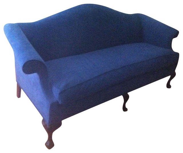 Queen Anne Blue Sofa Transitional Sofas By Chairish