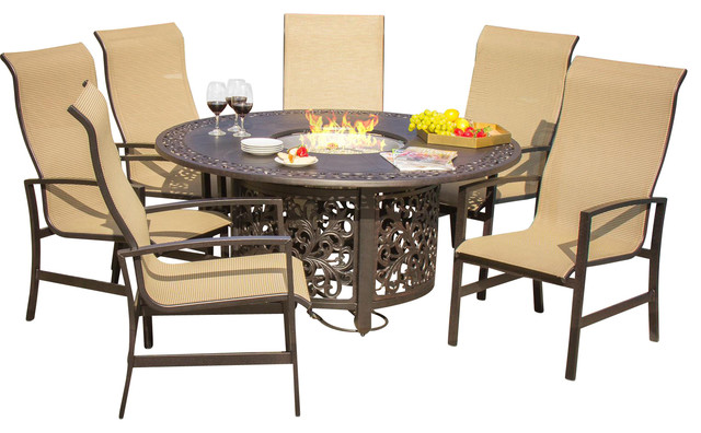 acadia 6 person sling patio dining set with fire pit table