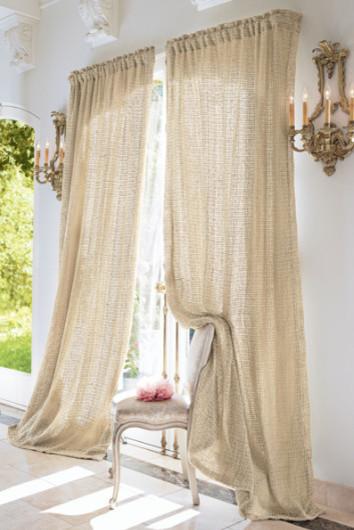 Raw Silk Woven Drapery Panel Natural Tonal Cotton Muslin