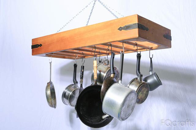 Large Wooden Hanging Pot Rack