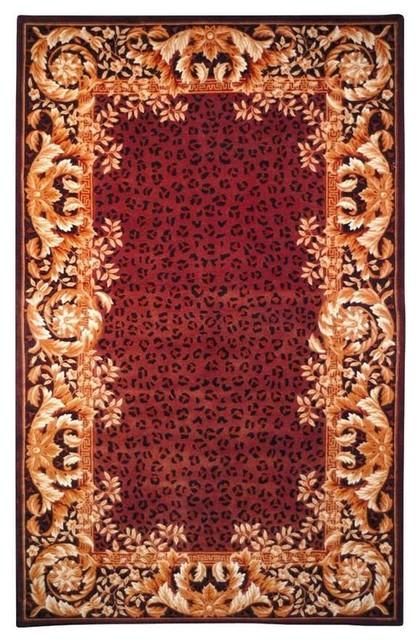Gold And Burgundy Vine And Leaf Print Rug 8 X11