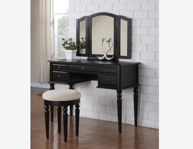 Tri Fold Mirror Wood Black Vanity Set Makeup Table Stool F4072 Gift Traditi