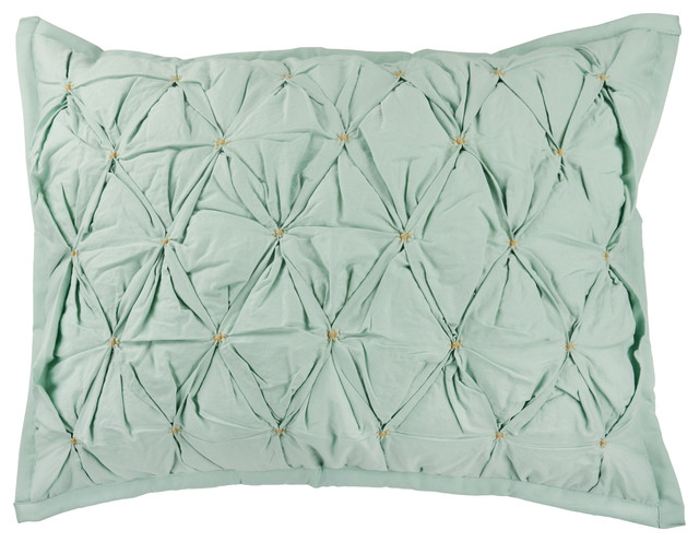 The Cozy Chic Pillow Sham, Seafoam/Tan, King - Contemporary - Decorative Pillows - by Empress Home