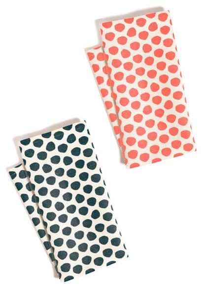 Polka Dots Tea Towel Set Coral Amp Navy Set Of 2