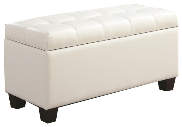 Faux leather upholstered button tufted storage accent bench white transitional accent and White upholstered bench
