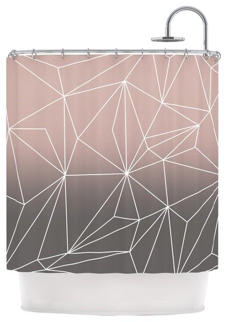 Mareike Boehmer Simplicity 2x Brown Geometric Shower Curtain Contemporary Shower Curtains