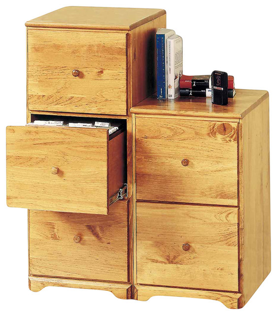 """File Cabinets Country Pine 3 Drawer, 38""""Hx15.5""""W - Traditional - Filing Cabinets - by Renovator ..."""