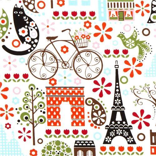White Timeless Treasures Fabric Paris Eiffel Tower Flower