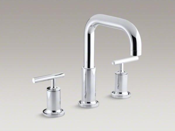 Kohler purist r deck mount bath faucet trim for high flow valve with lever hand contemporary for Kohler hands free bathroom faucet
