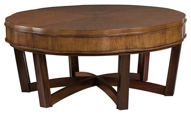Round cocktail table traditional coffee tables Traditional coffee tables and end tables