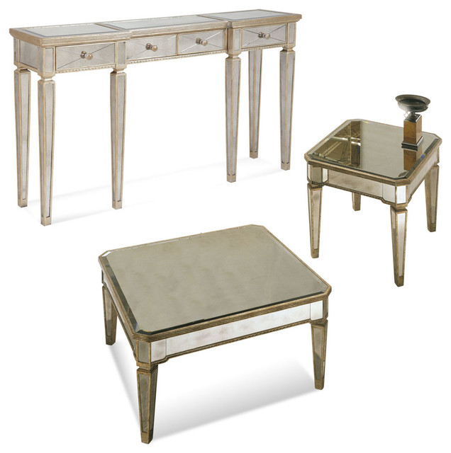 Bassett Mirror Borghese Mirrored Square 3 Piece Cocktail Table Set Contemporary Coffee Table