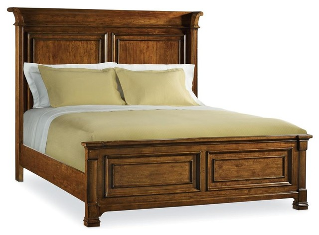 Panel Bed Medium Wood Queen X Traditional Panel