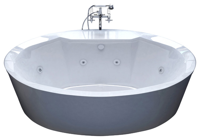 Venzi Sole Oval Freestanding Whirlpool Jetted Bathtub 34