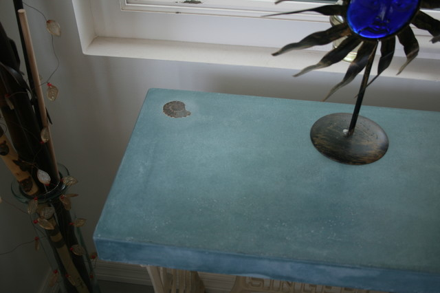 Concrete table. Antique sewing machine base. - tampa - by GreenStone Concrete Designs
