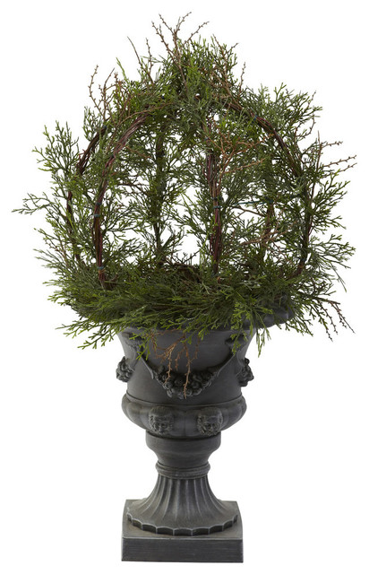 30 pond cypress topiary with urn indoor outdoor green for Artificial plants for outdoor ponds