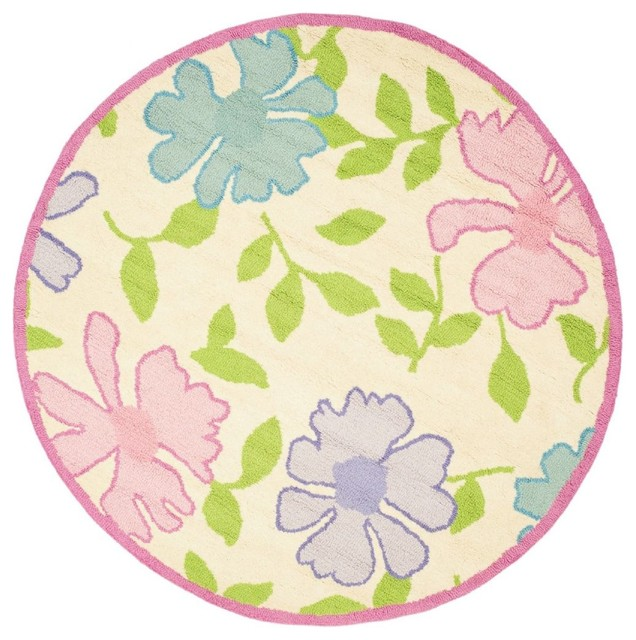 Kids safavieh kids round 6 39 round ivory pink area rug for Round rugs for kids