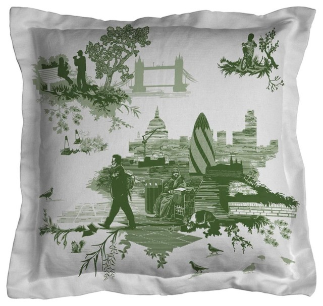 london toile cushion green traditional scatter cushions other metro by timorous beasties. Black Bedroom Furniture Sets. Home Design Ideas