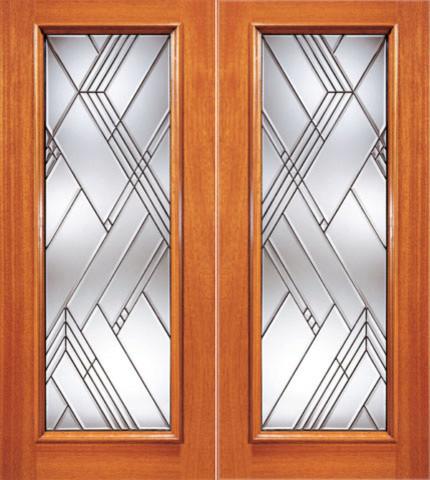 Modern beveled glass entry double door triple glazed for Triple glazed doors