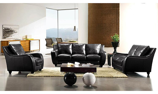 Eurodesign black leather 3 piece sofa set contemporary for 6 piece living room furniture sets