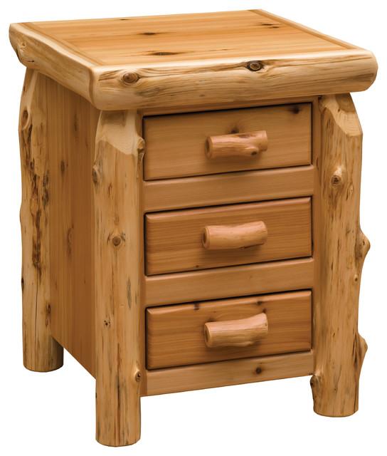 Cedar 3 Drawer Nightstand Half Log Drawer Front