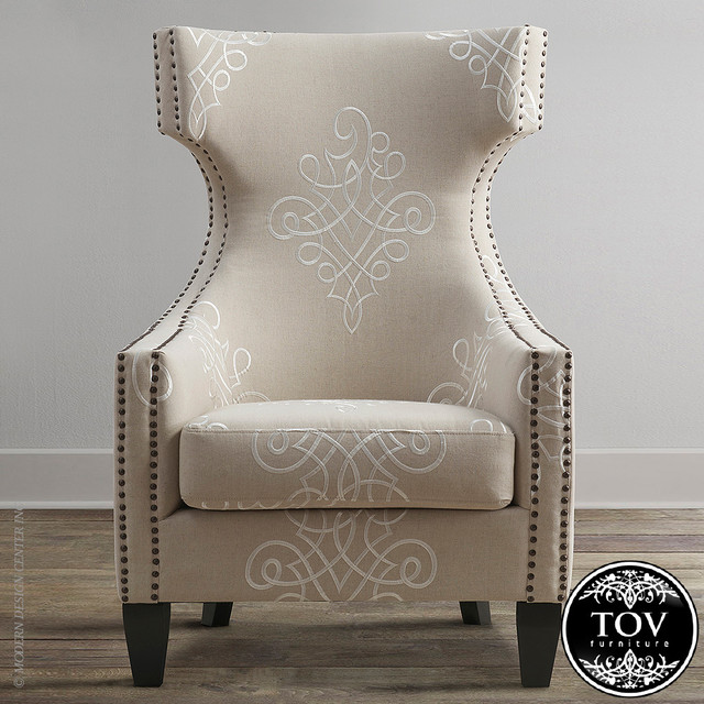 Gramercy embroidered linen wing chair by tov modern for Jordan linen modern living room sofa